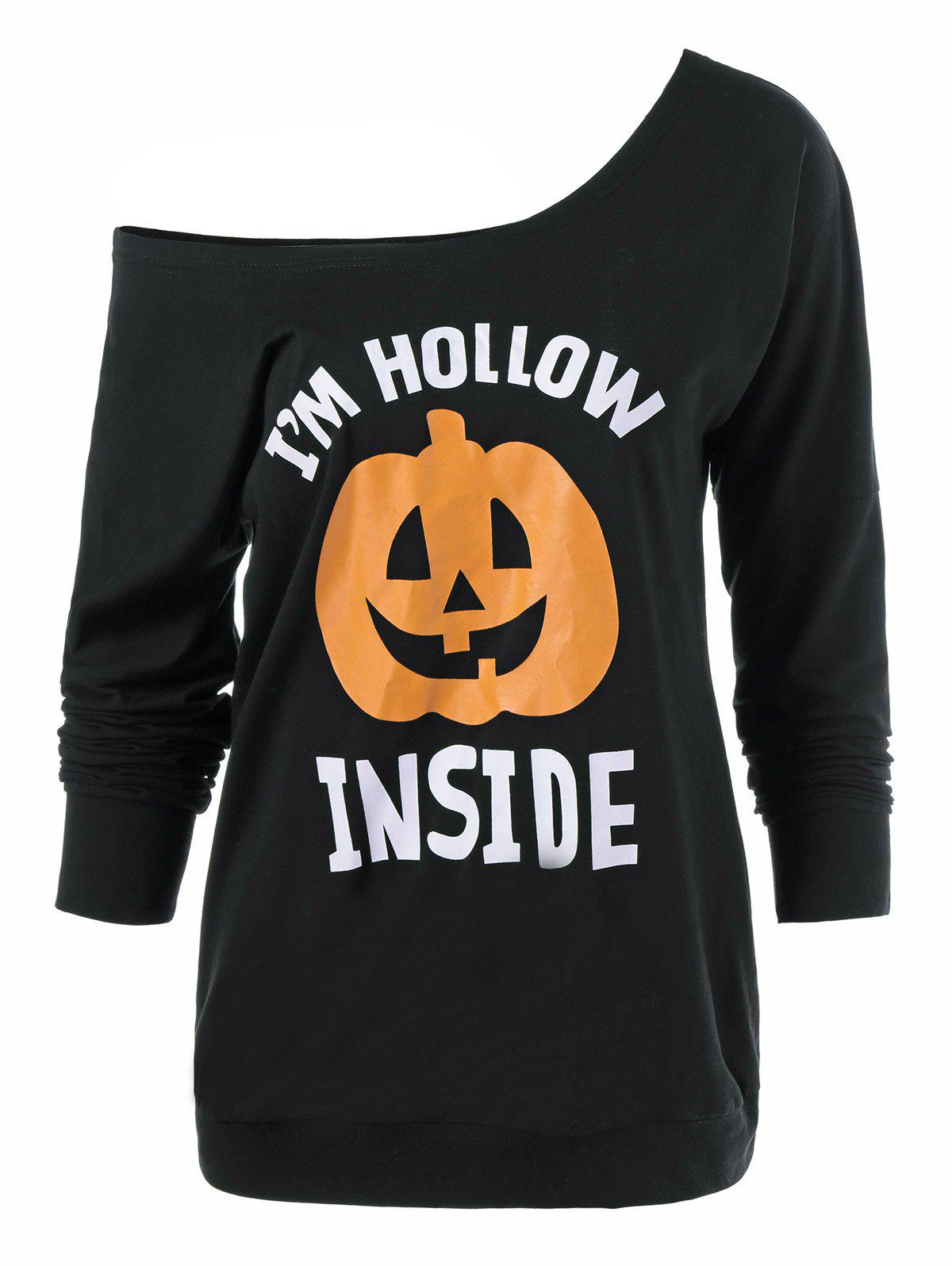 Skew Neck Pumpkin Lamp Print Halloween T-Shirt - BLACK L