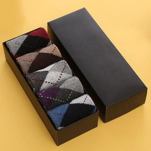 One Set Casual Dashed Line Prismatic Pattern Socks - COLORMIX