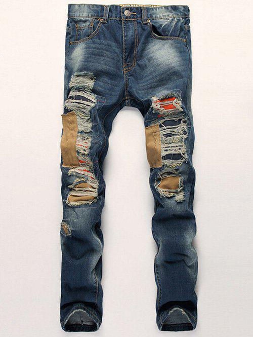 Zipper Fly Patch Design Distressed Straight Leg Jeans оноре де бальзак la peau de chagrin