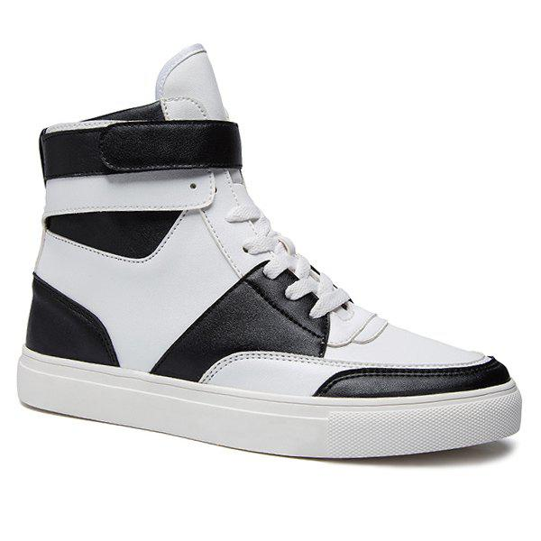 Casual Lace-Up PU Leather High Top Shoes
