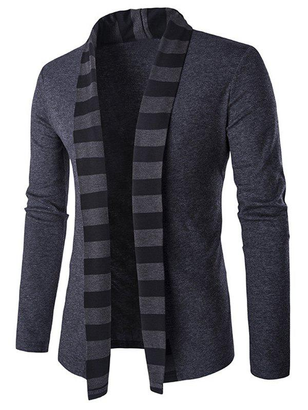 Striped Shawl Collar Cardigan in Slim-Fit - GRAY L