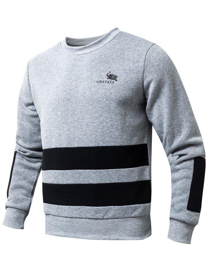 Round Collar Striped Rib Spliced Fleeces Sweatshirt - GRAY L