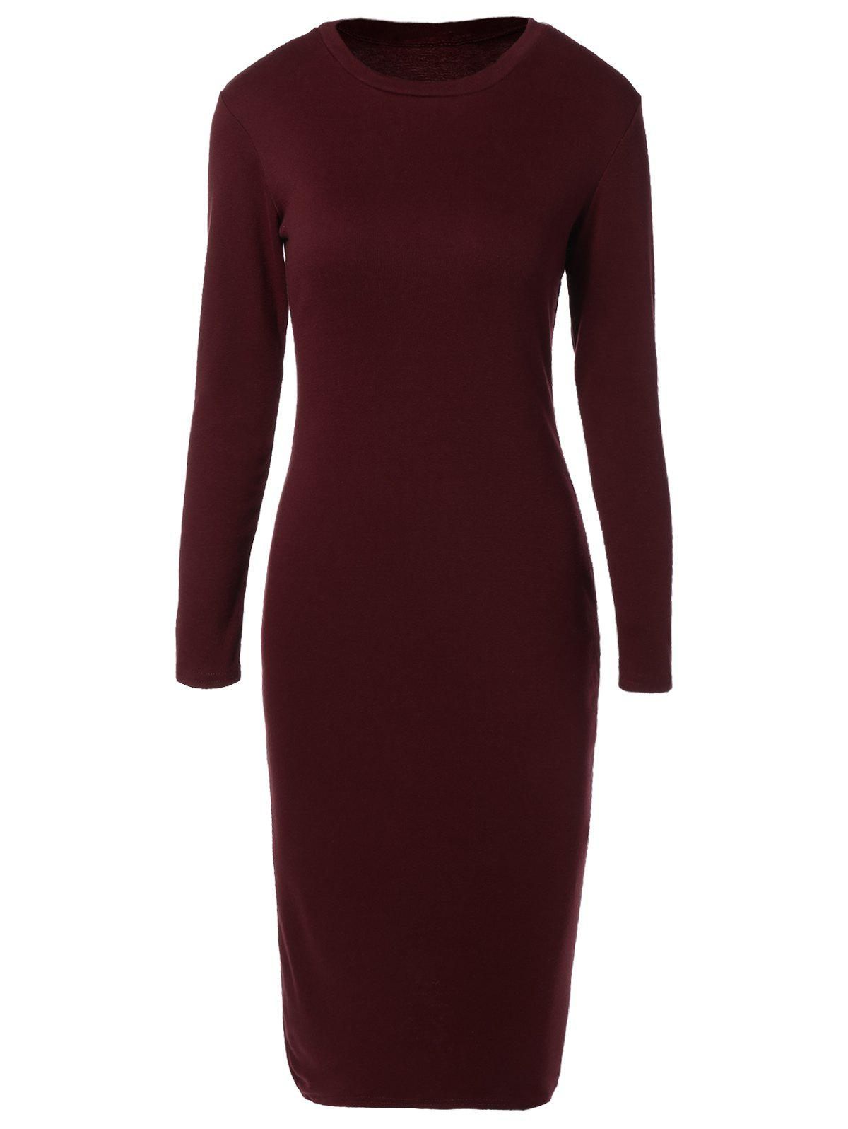 Long Sleeve Back Slit Pencil Dress long sleeve back slit pencil dress