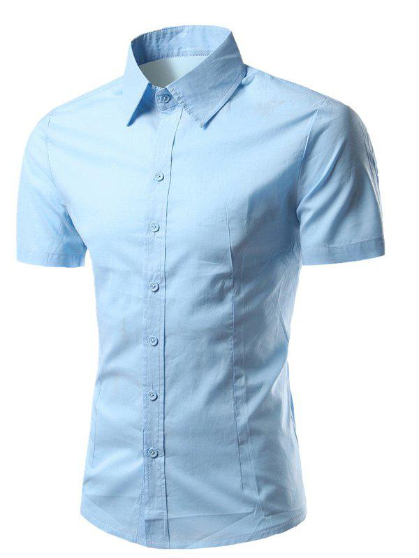 Short Sleeves Turn-Down Collar Business Shirt - BLUE XL