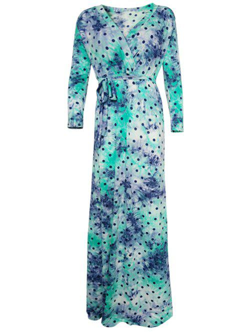 Wrap Polka Dot Maxi DressWomen<br><br><br>Size: 4XL<br>Color: GREEN