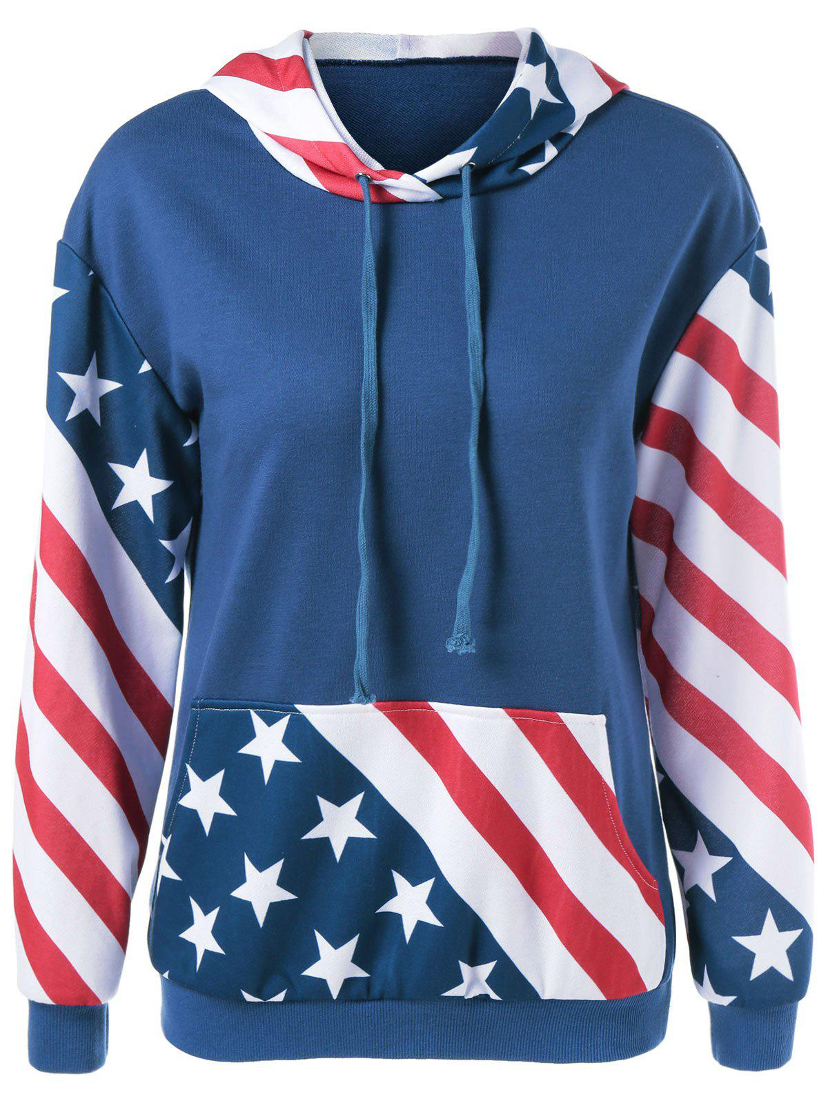 Flag Print Single Pocket Hoodie - PURPLISH BLUE XL