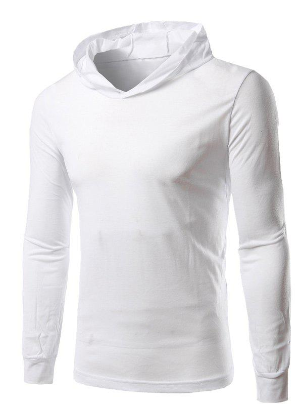 Hooded Long Sleeve Tee - WHITE 2XL