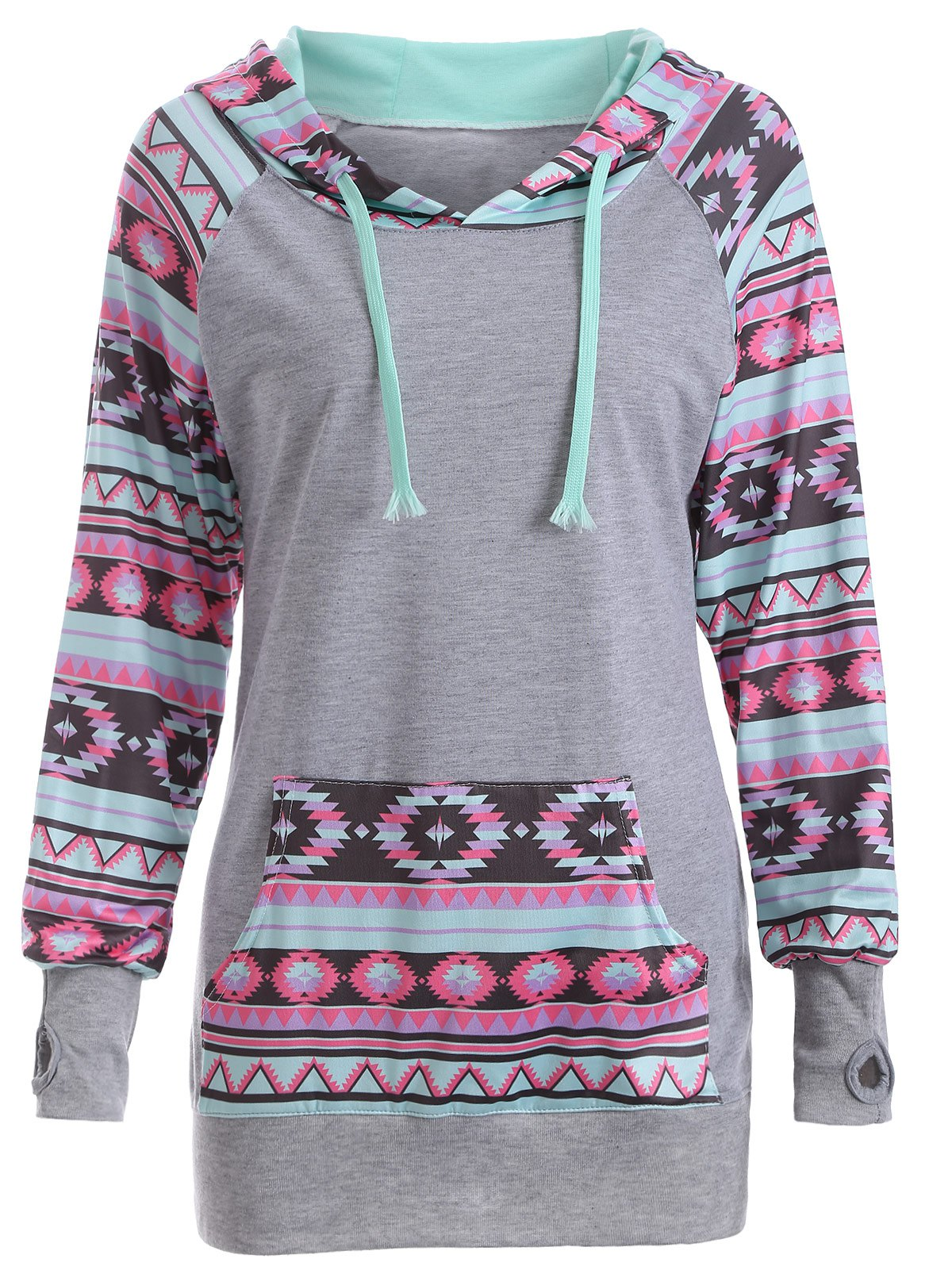 Printed Thumb Hole Drawstring Hoodie - GRAY XL