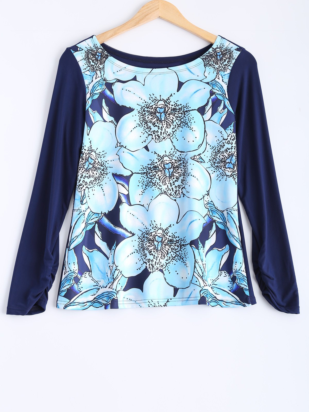 Flower Print Plus Size Long Sleeve T-Shirt - BLUE 3XL