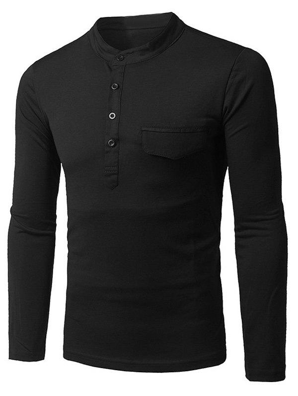 Grandad Collar Long Sleeve Faux Pocket T-Shirt grandad collar long sleeve half button pocket t shirt