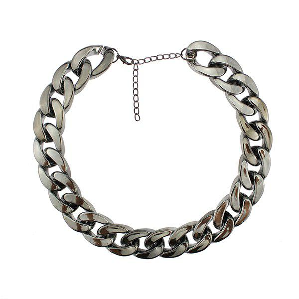 Adjustable Thick Chain Necklace - GUN METAL