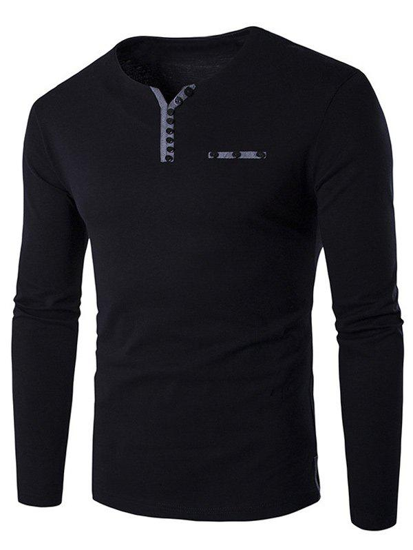 Long Sleeve Notch Neck Button Embellished T-Shirt - BLACK M
