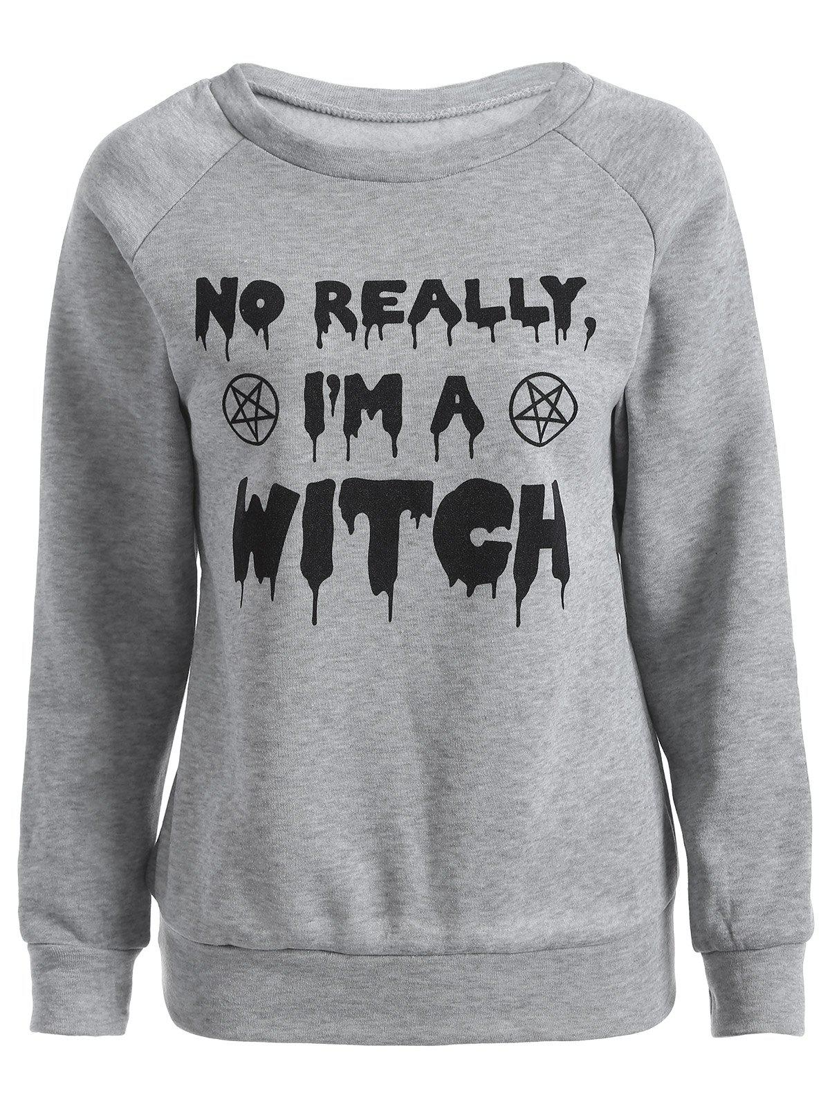 I Am A Witch Sweatshirt - GRAY 2XL