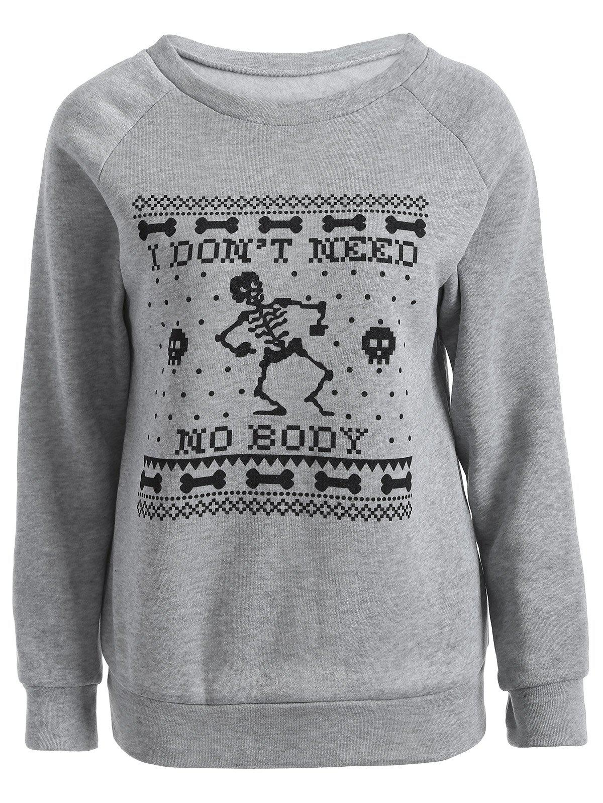Skeleton Printed Sweatshirt - GRAY S