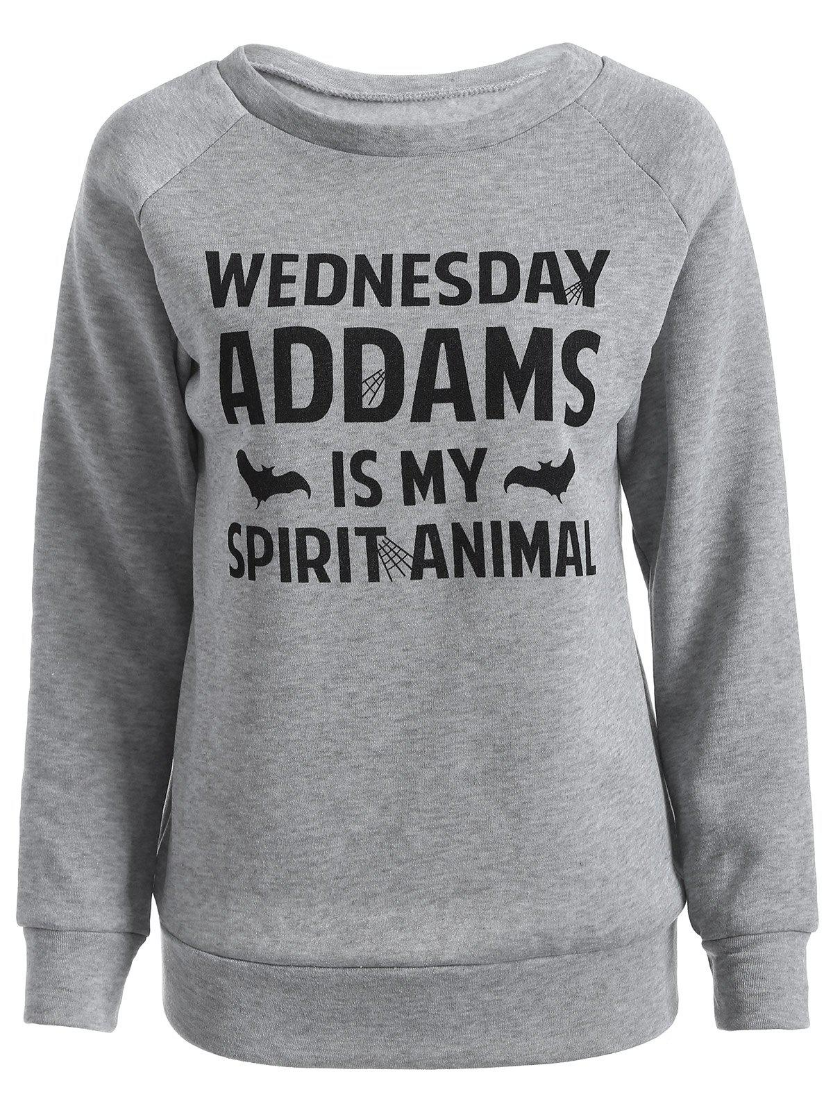 Wednesday  Addams Letter Crew Neck Sweatshirt - GRAY 2XL
