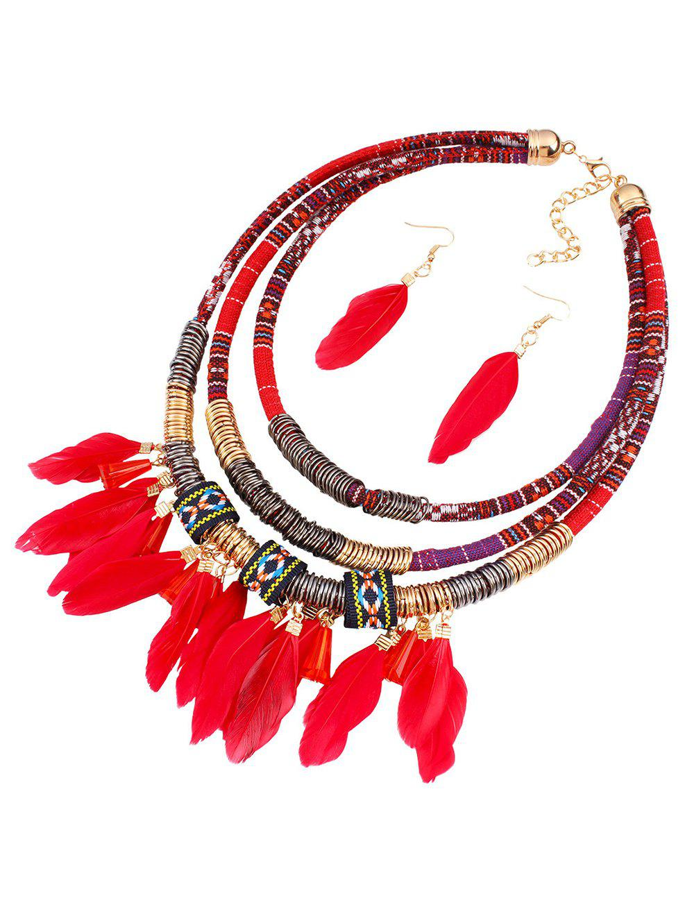Ethnic Layered Feather Jewelry SetJewelry<br><br><br>Color: RED