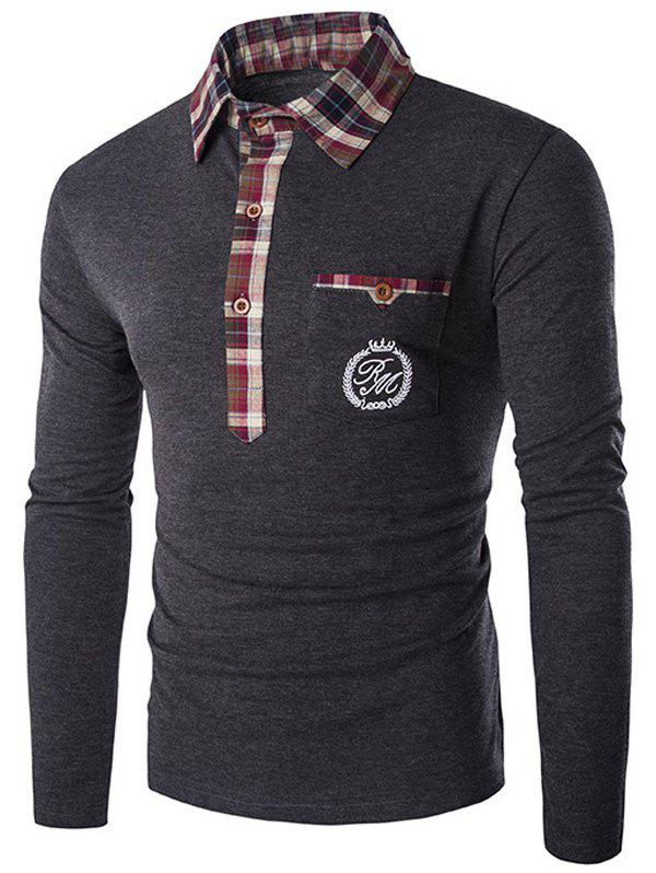 Plaid Collar Long Sleeve Embroidery T-Shirt - GRAY XL