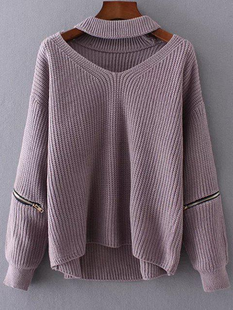 Chunky Choker Sweater - LIGHT PURPLE ONE SIZE