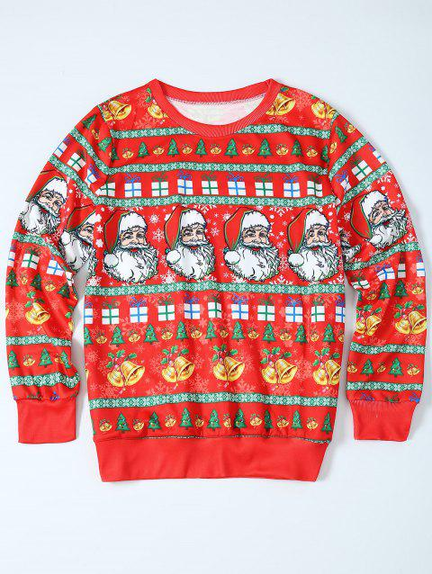 Father Christmas Print Loose Fit Sweatshirt - RED L