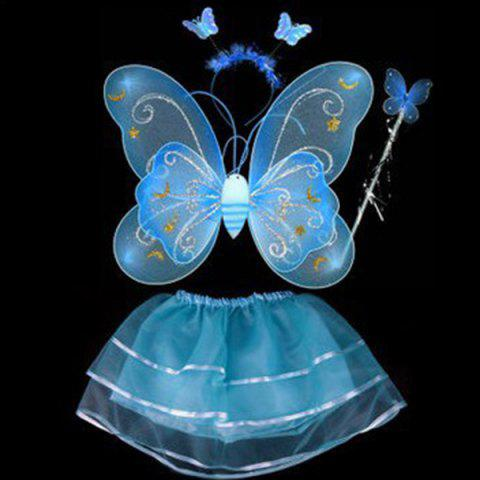 Halloween Cospaly Butterfly Angel 4PCS Kids Costume Set - BLUE