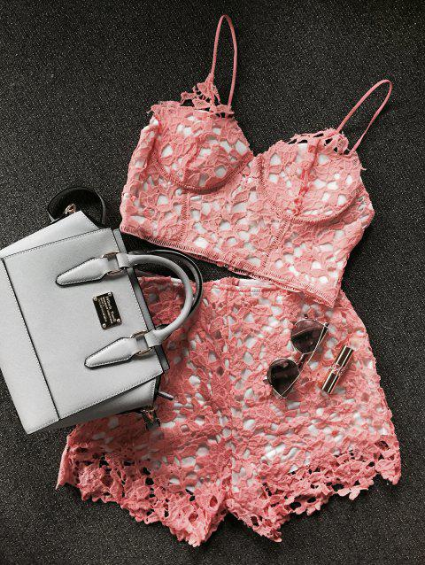 Lace Bustier Crop Top and Shorts - ORANGEPINK L