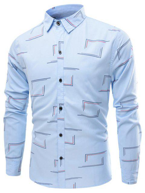 Turn-Down Collar Long Sleeve Frame Print Shirt - LIGHT BLUE 2XL