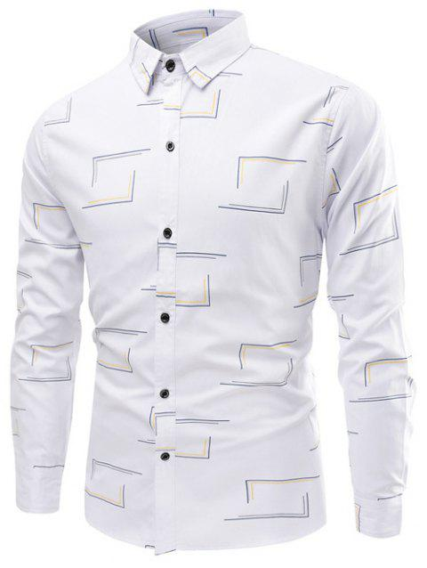 Turn-Down Collar Long Sleeve Frame Print Shirt - WHITE L