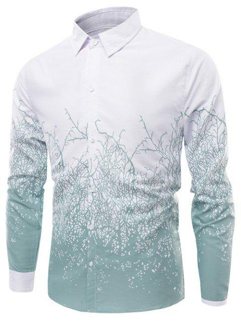 Turn-Down Collar Long Sleeve Timbo Print Shirt - GREEN L