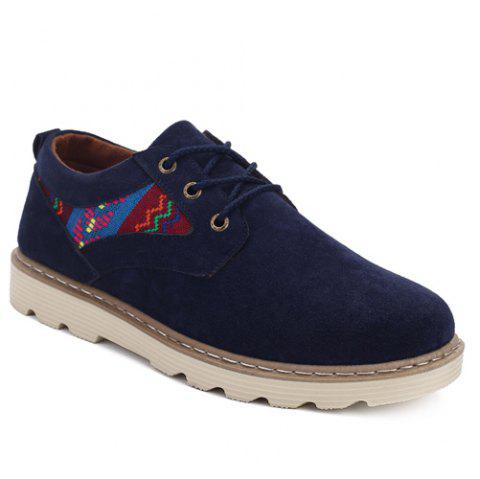 Ethnic Pattern Suede Lace-Up Casual Shoes - BLUE 42