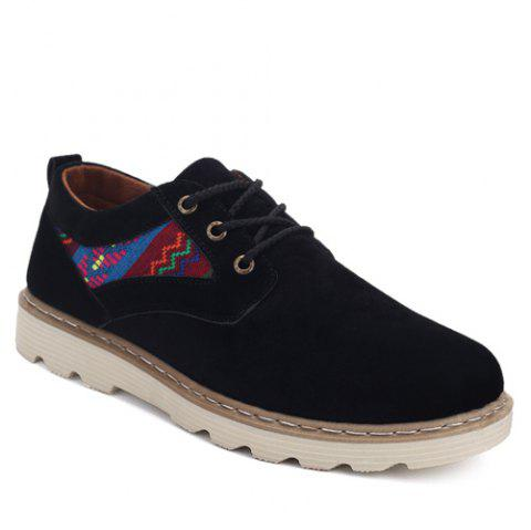 Motif ethnique Suede Lace-Up Souliers - Noir 42