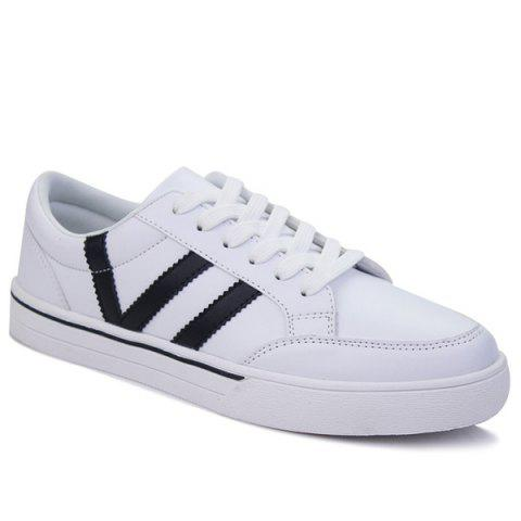 Casual Lace-Up Color Splice Skate Shoes - WHITE 44