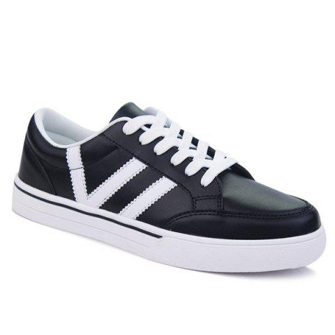 Casual Lace-Up Color Splice Skate Shoes - BLACK 42