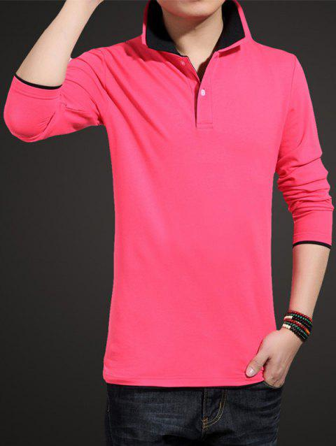 Long Sleeve Plus Size Turndown Collar T-Shirt - BLACK/ROSE RED M