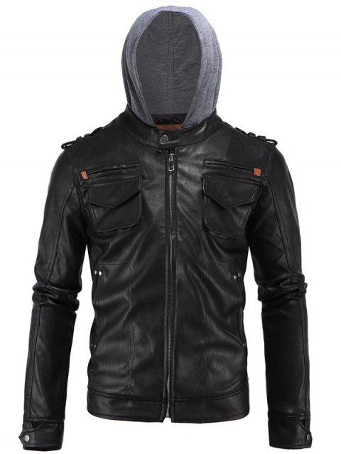 Multi-Pocket PU Hooded Moto Jacket - BLACK 3XL