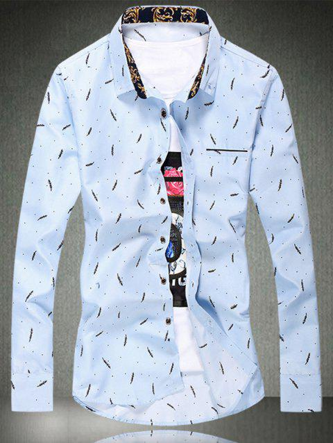 Leaf Dot Embroidery Long Sleeve Plus Size Shirt - LIGHT BLUE M