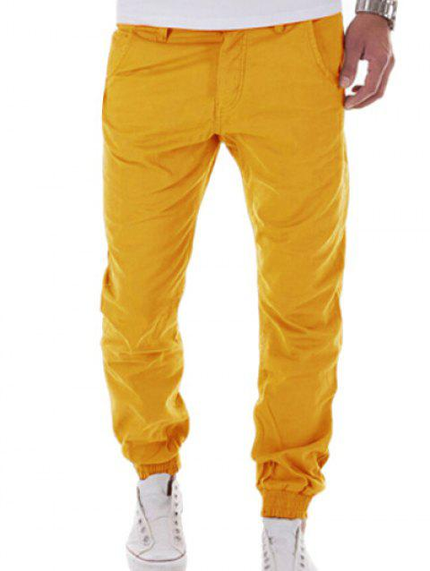 Button Pocket Back Zipper Fly Jogger Pants - YELLOW M