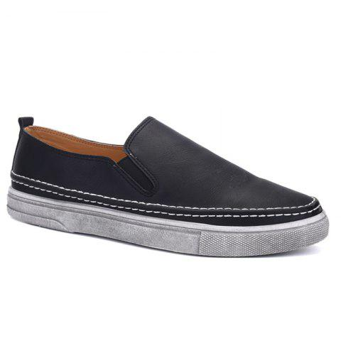 Stitching Elastic Band Dark Colour Casual Shoes - BLACK 40