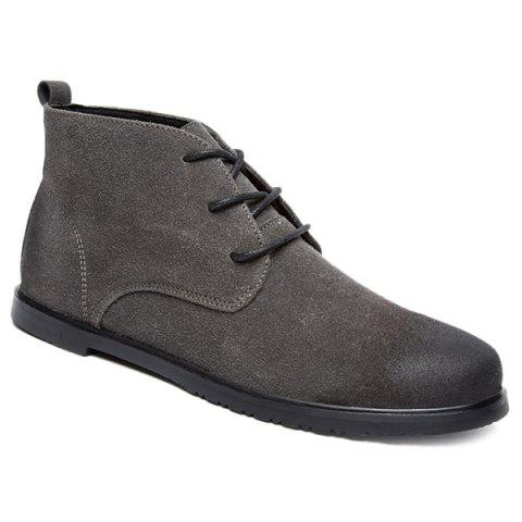 Vintage Lace-Up Suede Ankle Boots - GRAY 44