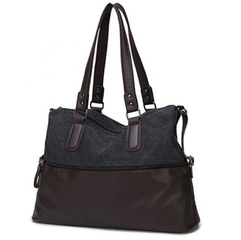 Canvas Spliced PU Leather Color Block Tote - BLACK