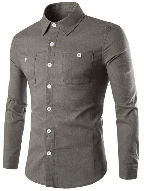 Bouton Pocket manches longues Slim-Fit Shirt - Gris XL
