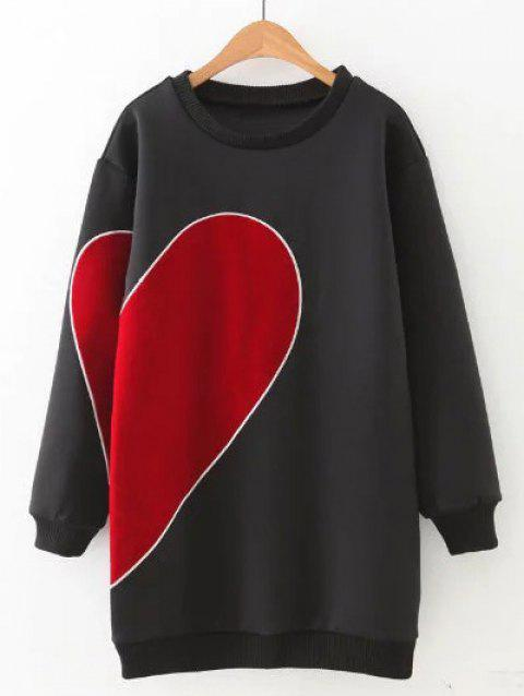 Heart Pattern Color Block Soft Long Sweatshirt - BLACK M