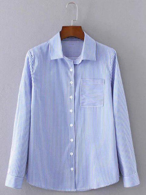 Pocket Design Striped Formal Shirt - BLUE M