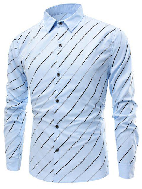 Turn-Down Collar Long Sleeve Oblique Linellae Print Shirt - LIGHT BLUE 4XL
