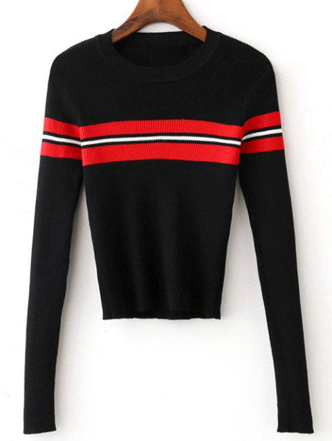 Jewel Neck Striped Slimming Cropped Knitwear - BLACK L