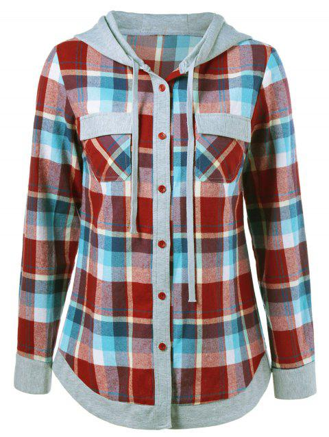 Single Breasted Double Pockets Plaid Hoodie - CHECKED XL