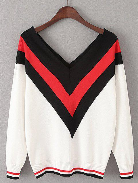 Color Block V Shape Stripe Sweater - Blanc ONE SIZE