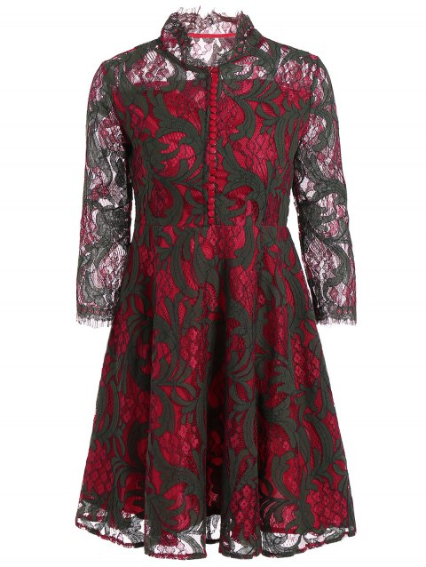 Long Sleeve See Through Lace Dress - DEEP RED M