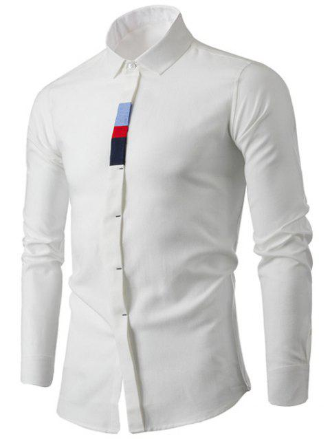 Turn-Down Collar Long Sleeve Color Block Embellished Shirt - WHITE M