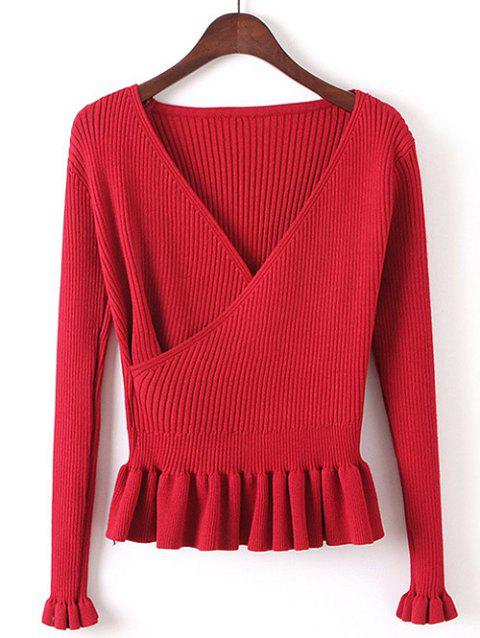 Faux Wrap Plunge Peplum Tricots - Rouge ONE SIZE