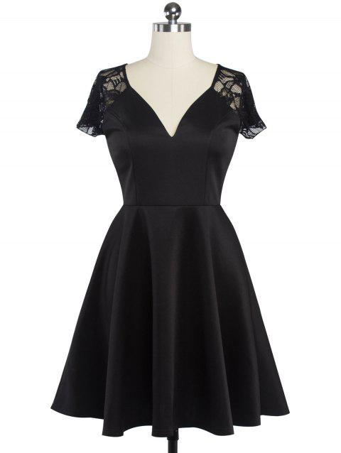 Fit et Flare Lace Spliced ​​Dress - Noir M